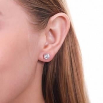 Rhodium Plated Sterling Silver Solitaire Stud Earrings Made With Swarovski Zirconia Round C511towo6al
