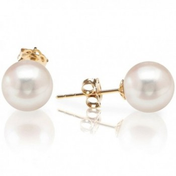 PAVOI 14K Gold Round Handpicked AAA+ Freshwater Cultured White Pearl Earrings for Women - CO12FNC2VYT