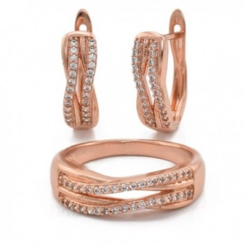Olivia Star Rose Gold Plated Hypoallergenic Set Earrings+Ring for Women CZ Cubic Zirconia - C3189A0WZEQ