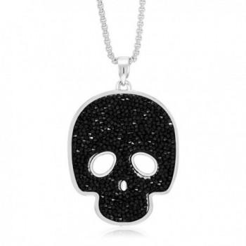 "2"" Rhodium Plated Black Crystal Medley Skull Pendant Made With Swarovski Crystal - C2186AZXNUQ"