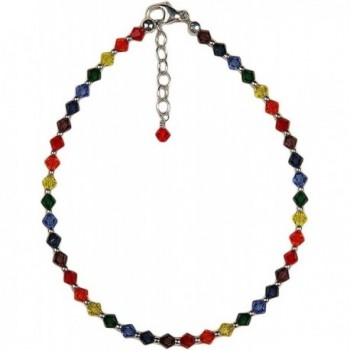 Anklet - Chakra Colors- Crystal Beads with Chain Extension - CT113D1XZLB