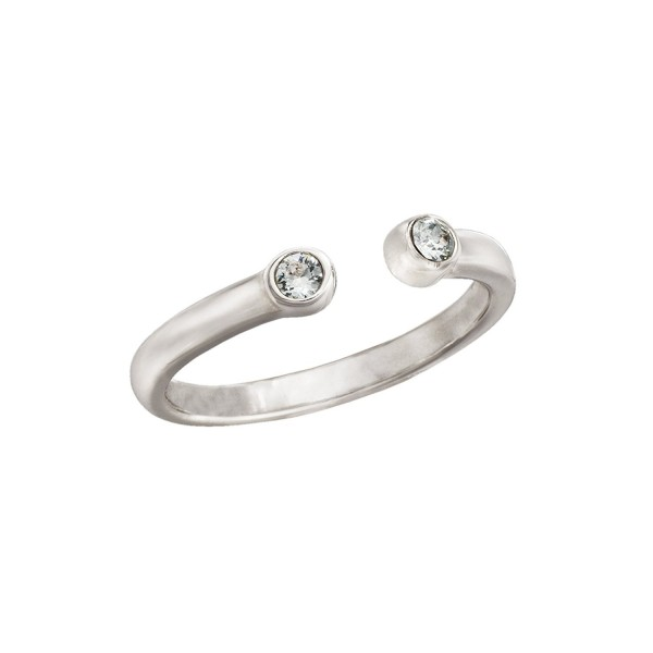 Silpada 'Bling' Sterling Silver and Swarovski Crystal Midi Ring- Size 4 - CJ12NDXUEBM