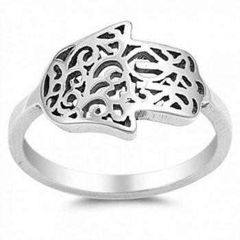 Sideways Hand of God Filigree Hamsa Ring .925 Sterling Silver Band Sizes 5-10 - CD12ELW6RZL