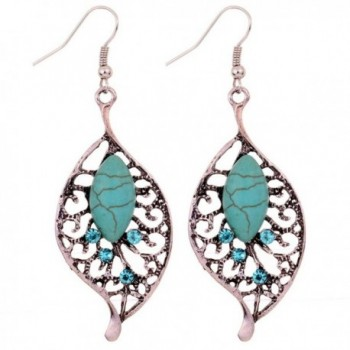 Yazilind Jewelry Vintage Tibetan Silver-plated Leaf Shape Turquoise Drop Dangle Earrings for Women - CT11IOHP53Z