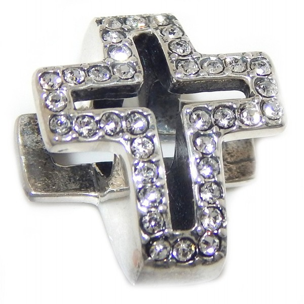 "Solid 925 Sterling Silver ""Two Sided Cross with Clear Crystals"" Charm Bead 017 - C017XE2TERU"