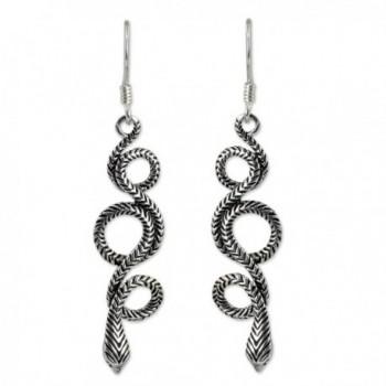 NOVICA Sterling Silver Snake Dangle Earrings- 'Infinity Serpent' - CU114BWJUFL