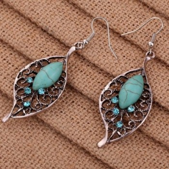 Yazilind Jewelry Silver plated Turquoise Earrings in Women's Drop & Dangle Earrings
