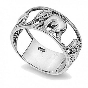 Sterling Silver Wedding & Engagement Ring Elephant Ring 10mm ( Size 5 to 12) - CG118RT7P8D