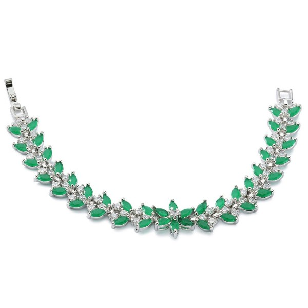 "Rellecona Women's Platinum Plated Sterling Silver Emerald Tennis Bracelet CZ Jewelry 7"" - CO12BSL3BRZ"