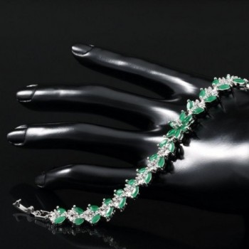 Rellecona Platinum Sterling Emerald Bracelet in Women's Tennis Bracelets