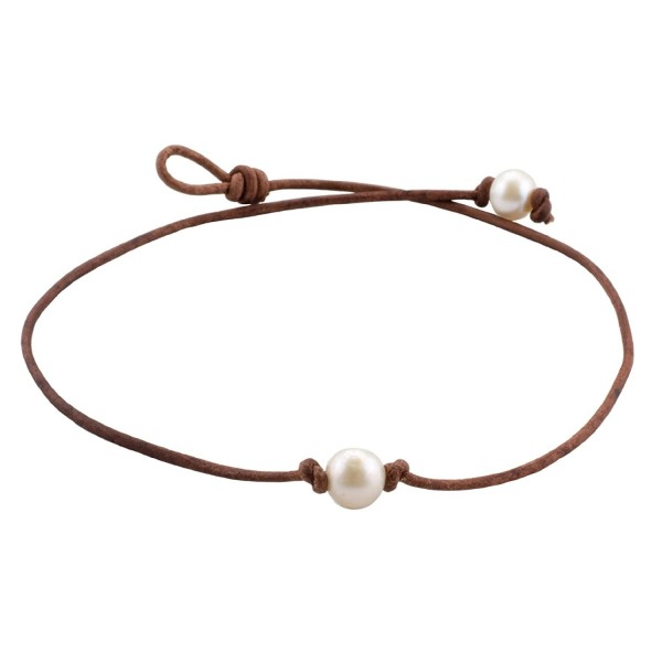 "High Quality Single Freshwater Cultured 9.5-10.5mm Pearl Choker Necklace on Brown Leather Cord- 16"" - CB11APM1IHD"