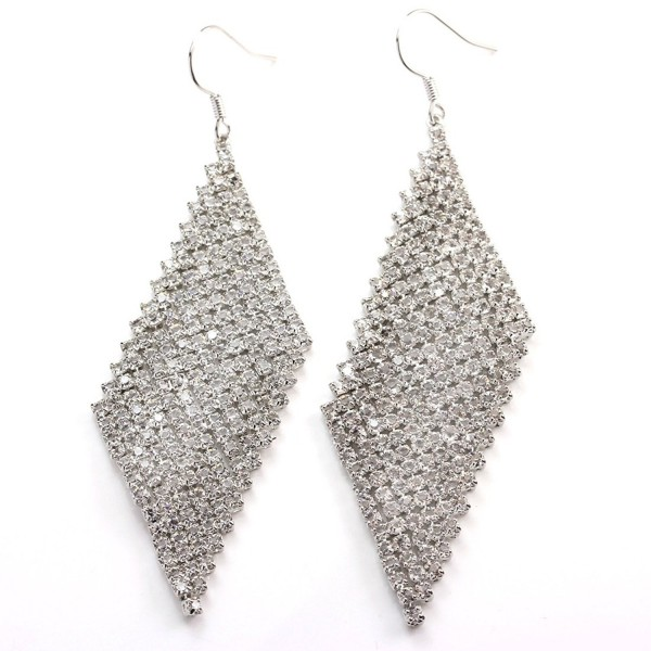 FC JORY White Gold Plated CZ Crystal Mesh Fit Pierced Bridal Wedding Hook Drop Earrings - CF11ZVRK383