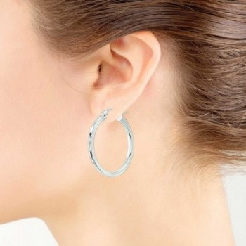 Sterling Polished Square Tube Click Top Earrings in Women's Hoop Earrings