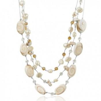 Zinc Metallic Yarn Beaded Shiva Eye Shell- Cultured Freshwater Pearls Choker Necklace 18.5-21 inches - C712JP2HRFL