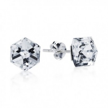 Clear Crystal Prism Cube .925 Sterling Silver Stud Earrings - C011TZ2NH1P