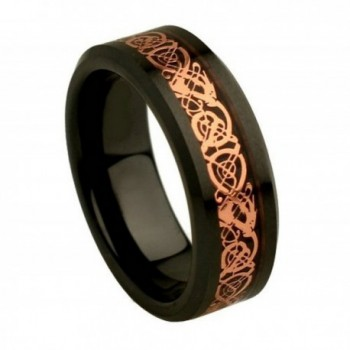 Black Ceramic High Polish & Rose Gold Plated Celtic Dragon Inlay Wedding Ring - CZ11NW026KJ