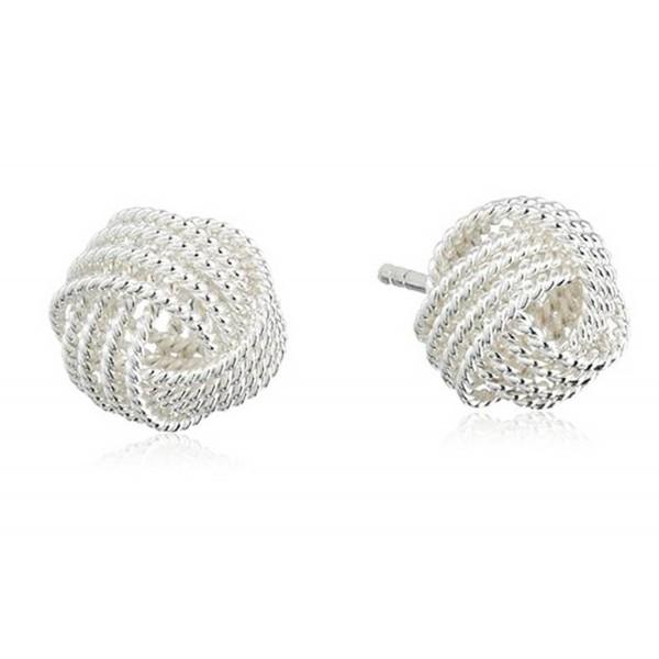 Sephla Silver Plated Mesh Knot Stud Earrings For Women - CM11YVXWU5R