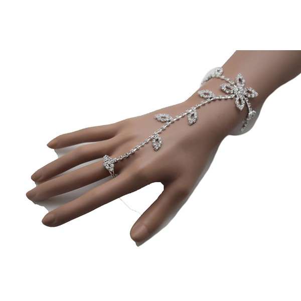 TFJ Women Fashion Jewelry Hand Chain Wrist Bracelet Flower Slave Ring Floral Brown Beads Antique Gold - C412C6G6RP9