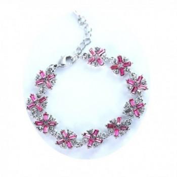 Sterling Silver Plated Swarovski Crystal Tennis Bangle Bracelet Cubic Zirconia Flower Bracelets for Women - CP187DKGNIT