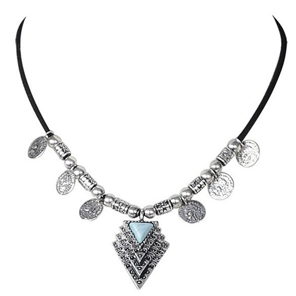 Peony.T Women's Velvet Choker Necklace with Alloy Arrow Pendant and Turquoise Inlay - Stacked triangle-Silver - CO17XHM9U6A