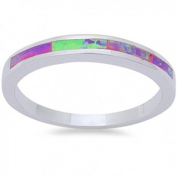 Lab Created Pink Opal Band .925 Sterling Silver Ring Size8 - CE11MBK5R1L