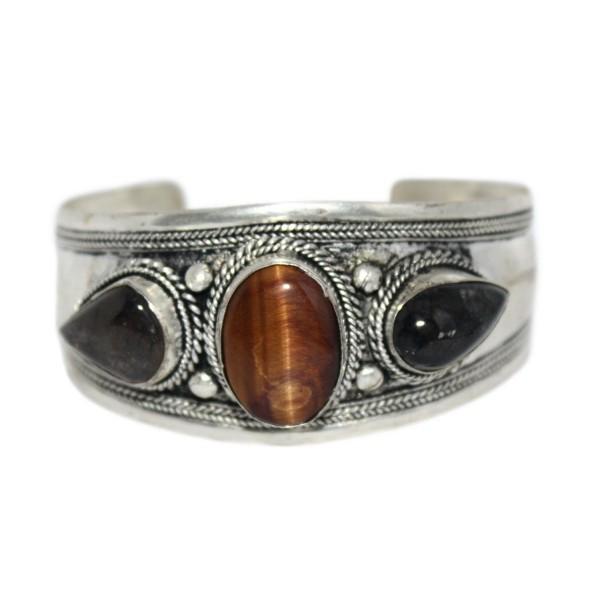 Labradorite Cuff Bracelet Tibetan Bracelet- Nepal Bracelet- Tigereye Bracelet BB436 - CB12C0UHA29
