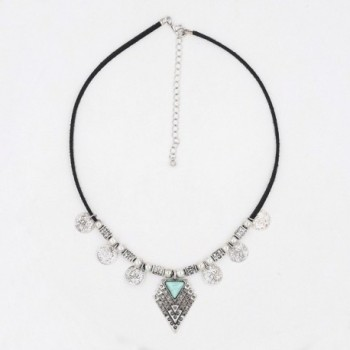 Peony T Necklace Pendant Turquoise triangle Silver in Women's Choker Necklaces