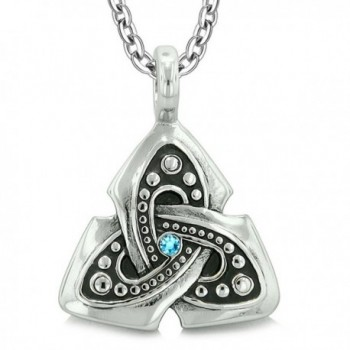 Ancient Viking Celtic Triquetra Knot Amulet Protection Powers Sky Blue Crystal Pendant 18 Inch Necklace - CQ12NTFF4ZM