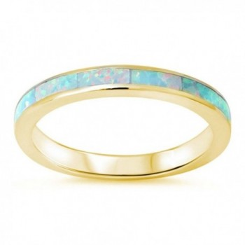 3mm Full Eternity Engagement Band Ring Lab Created White Opal Yellow Tone plated 925 Sterling Silver - CI12N1UHT9F