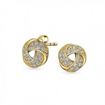Bling Jewelry Love Knot Pave CZ Stud earrings Gold Plated 10mm - C3114XZCVSJ