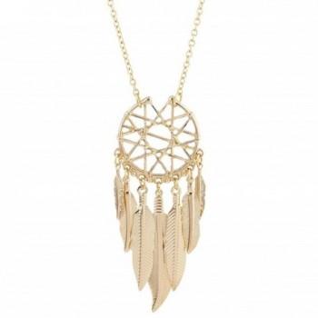 Lux Accessories Gold Tone Boho Cased Feather Dreamcatcher Pendant Necklace - CN183CYMDE6