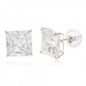 14k White Gold Square Basket Setting Cz Stud Earrings with Silicone Back - All Sizes Available - CB11PIWF359