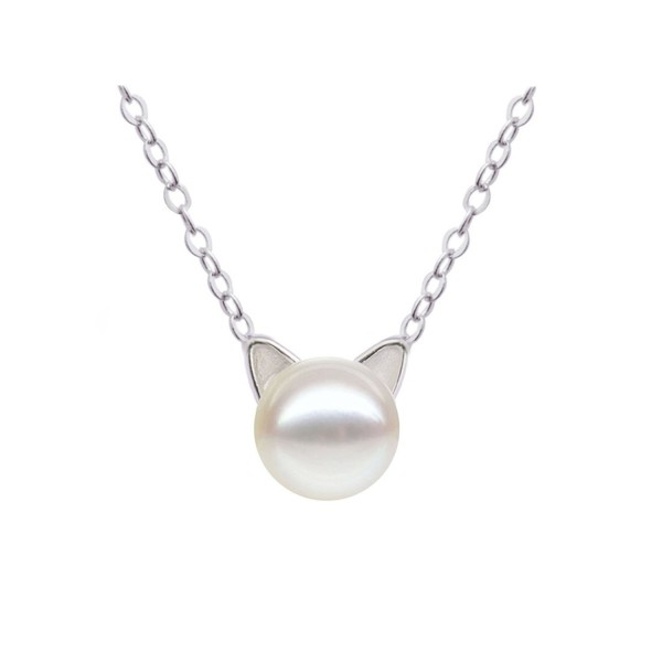 S Leaf Sterling Necklace Freshwater Collarbone - A silver-white pearl - CD120G5OFUV