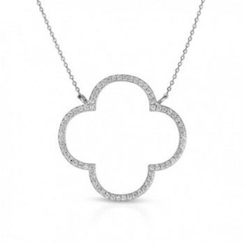 Unique Royal Jewelry Sterling Silver Open Four Leaf Clover Cubic Zirconia Necklace With Adjustable Length. - C612M109LX5