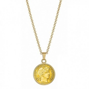 "American Coin Treasures Gold-Layered Silver Barber Dime Goldtone Coin Pendant Necklace with 18"" Chain - CG11RZQ1QHP"