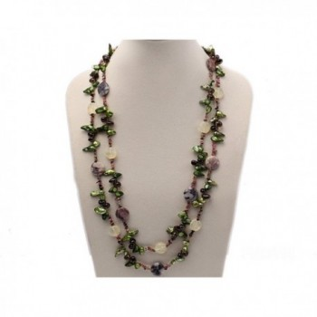 """JYX 9-16mm Green Tooth Freshwater Pearl with Natural Smoky Quartz and Tourmline Chips Opera Necklace 60"""" - CN1886QHGO4"""