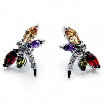 Sterling Silver Multi-gem CZ Dragonfly Stud Earrings - CI11JO6HKX3