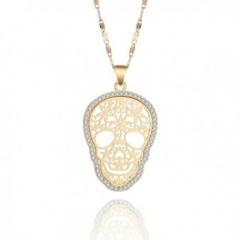 Necklace Fashion Pendant Crystal Rhinestone - Gold Plated Skull Pendant - CP188RQ4UIE