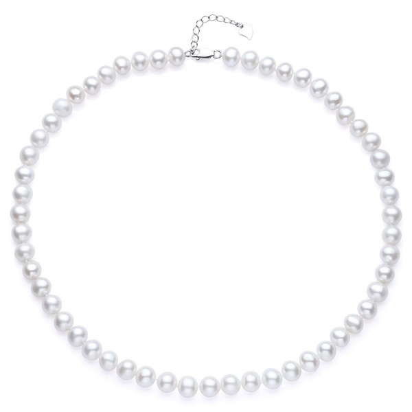 Sterling Silver AA Quality White Freshwater Cultured Pearl Necklace- 18 Inch - CM184Q0IICI