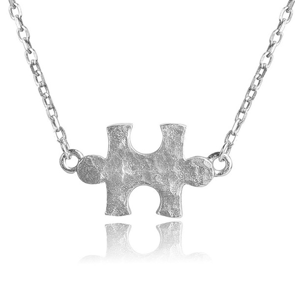 """Dainty Genuine Sterling Silver Hammered Puzzle Piece Necklace w/ 16-18"""" Adjustable Chain Autism Awareness - C4182SGOQCK"""