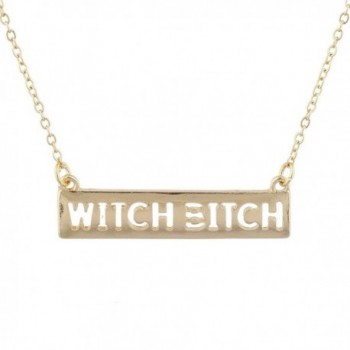 Lux Accessories Gold Tone Cut Out Witch Bitch Wiccan Bar Necklace - C71859M9HT0
