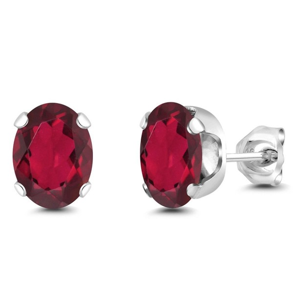 2.60 Ct Oval 8x6mm Red Mystic Topaz 925 Sterling Silver Stud Earrings - C31179UD977