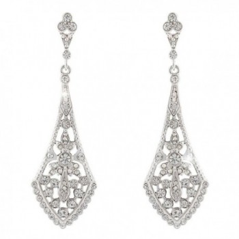 EVER FAITH Wedding Chandelier Art Deco Dangle Earrings Clear Silver-Tone - CG11NKRLG5P