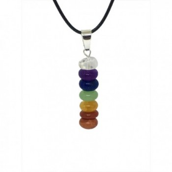 7 Stone Chakra Necklace - Natural Stones Pendent - Balance Chakras with Gift Box - By Schmidt Jewelry - CM1845ND7IA