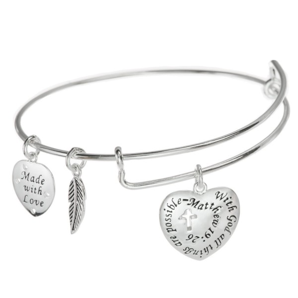 Sterling Silver Christian Cross With God All Things Are Possible Heart Leaf Charm Ajustable Wire Bangle Bracelet - CH12G2TD5AP