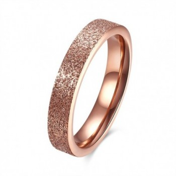 CHENGCAI 4mm Fashion Rings for Women Rose Gold Stainless Steel Rings Wendding Band Engagement Sand Blast Finish - C412O51J1FR
