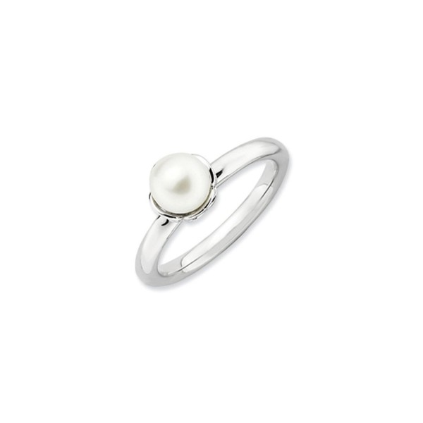 White Freshwater Cultured Pearl & Sterling Silver Stackable Ring (6.0-6.5mm) - CH117CBGTQL