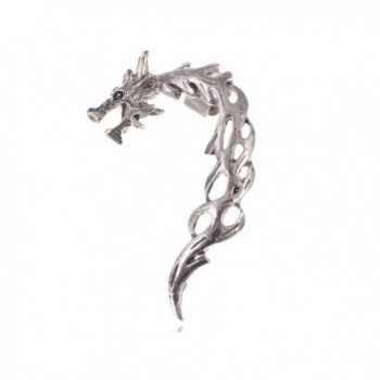 Alilang Silvery Tone Dragon Fury Battleground Shimmering Finish Flame Esque Earring Cuff - CW11DGV80V3