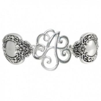 Spoon Handle Style Monogram Initial Silver Tone Magnetic Clasp Bracelet - C012GJGA1V7