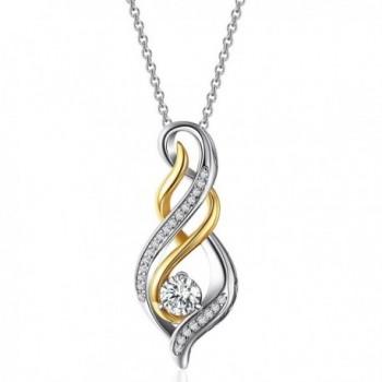 Caperci Two Tone Sterling Diamond Necklace - CI12EPZBUBF